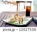 Club sandwich with iced soda drink 12027536