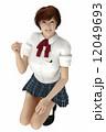 女子高生 ガッツポーズ 女性のイラスト 12049693