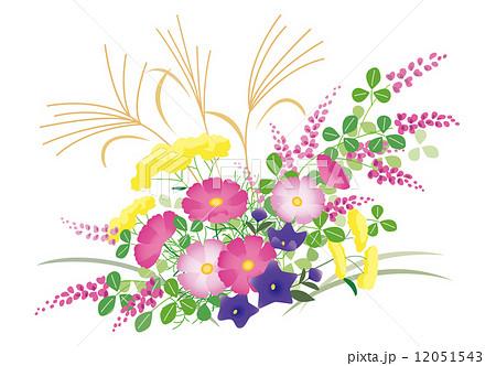 秋の花コスモス萩キキョウおみなえしススキ和風のイラスト