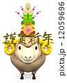 ハガキテンプレート 年賀2015 羊のイラスト 12059696