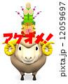 ハガキテンプレート 年賀2015 羊のイラスト 12059697