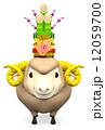 ハガキテンプレート 年賀2015 羊のイラスト 12059700