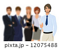 Portrait of young businessman with business team 12075488