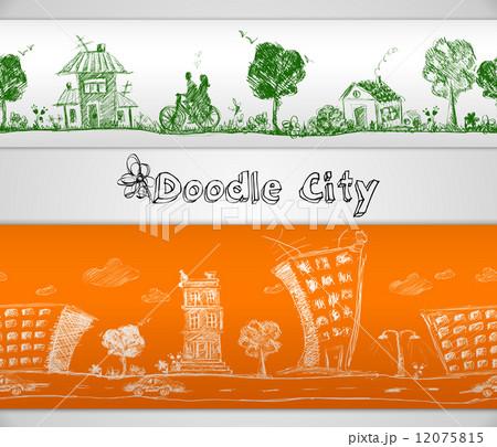 City doodle seamless borderのイラスト素材 [12075815] - PIXTA