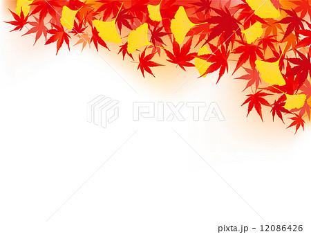 秋紅葉銀杏もみじ赤黄色黄金風景背景イラストのイラスト