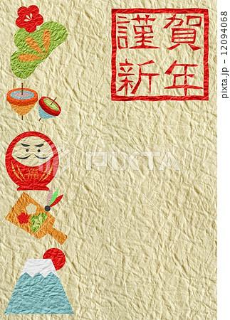 謹賀新年 年賀状和紙達磨縦 12094068
