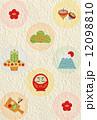 縁起物水玉和紙背景縦 12098810