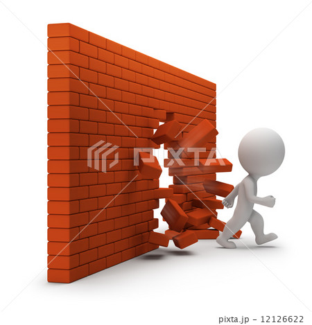 3d small people - through a brick wall 12126622