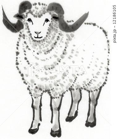 水墨画 羊のイラスト素材 12186105 Pixta