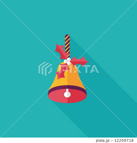 Christmas bells flat icon with long shadow,eps10 12209718