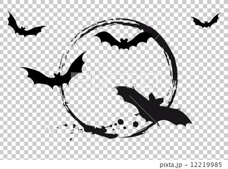 Halloween moon with flying bats, vector illustration 12219985