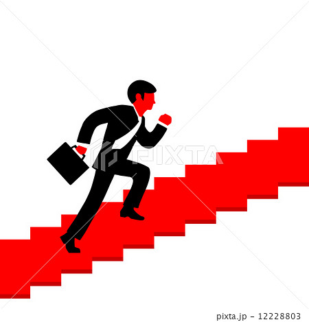 Vector illustration of a man running up the stairs with a briefcのイラスト素材 [12228803] - PIXTA