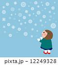 女の子 雪の結晶バックグラウンド 12249328