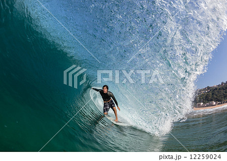 Surfing Surfer Inside Hollow Blue Wave 12259024