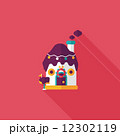 Gingerbread house flat icon with long shadow,eps10 12302119