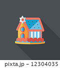Gingerbread house flat icon with long shadow,eps10 12304035