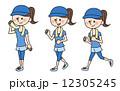 イラスト素材:走る女性 12305245