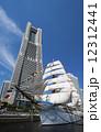 帆船 日本丸 横浜ランドマークタワーの写真 12312441