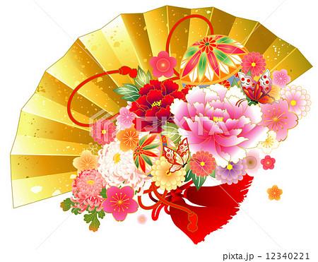 扇子と花のイラスト素材 12340221 Pixta