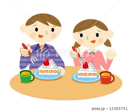 ケーキを食べる子供のイラスト素材 12363751 Pixta