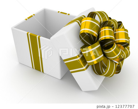 Open white gift box with gold bow isolated on white background 9のイラスト素材 [12377707] - PIXTA