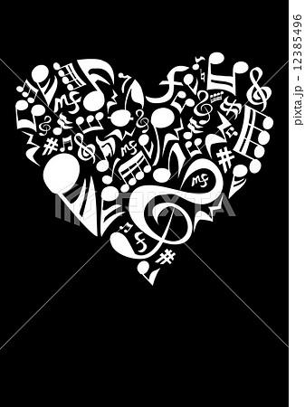 モノクロ音符のハートのイラスト素材 12385496 Pixta