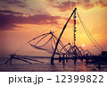 Chinese fishnets on sunset. Kochi, Kerala, India 12399822