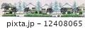 住宅外観 町並み 街路樹のイラスト 12408065