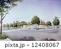 公園のスケッチ 町かど 町並みのイラスト 12408067