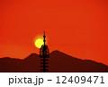 夕陽 二上山 安倍文殊院 12409471