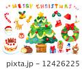 サンタクロース クリスマス クリスマスツリーのイラスト 12426225