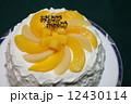黄色と白の手作り桃ケーキ 12430114