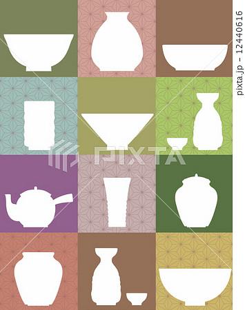 陶器いろいろ和風イメージのイラスト素材 12440616 Pixta