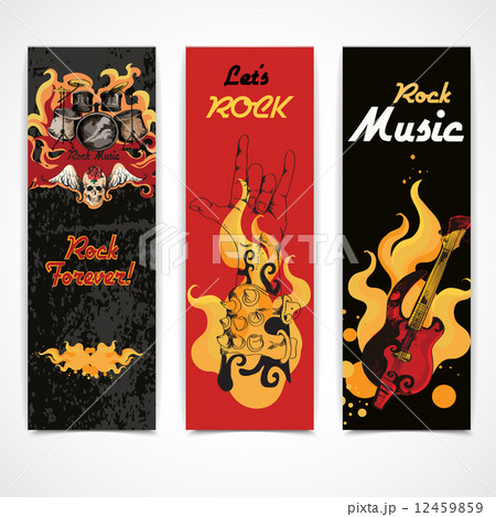 Rock music banners setのイラスト素材 [12459859] - PIXTA