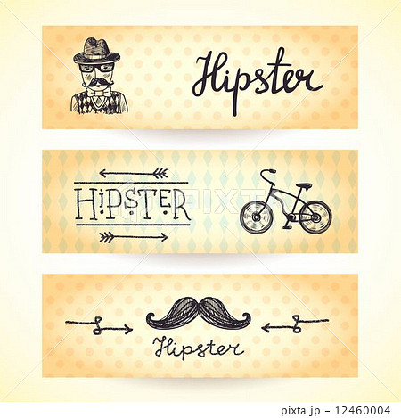 Hipster banners setのイラスト素材 [12460004] - PIXTA