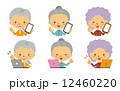 おばあさん スマートフォン ベクターのイラスト 12460220