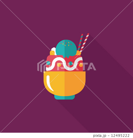 sundae flat icon with long shadow,eps10 12495222
