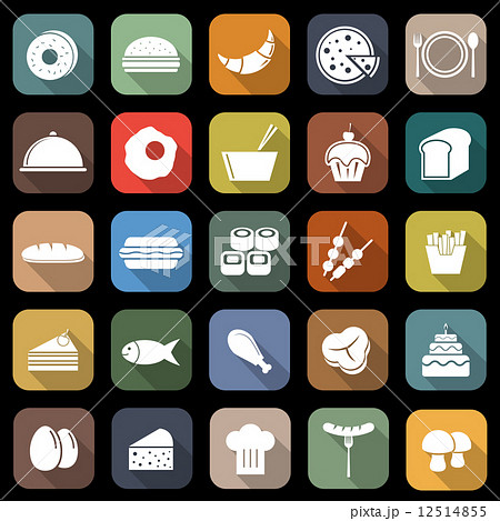 Food flat icons with long shadow 12514855