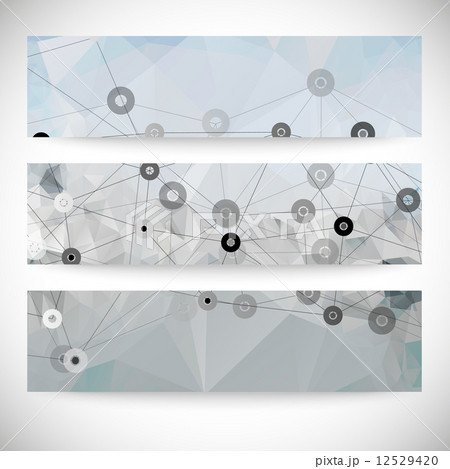 Set of abstract backgrounds, molecule structure, triangle design vector illustrationのイラスト素材 [12529420] - PIXTA