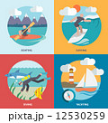 Water sports icons set flat 12530259