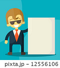 businessman holding blank notes characters poses 12556106