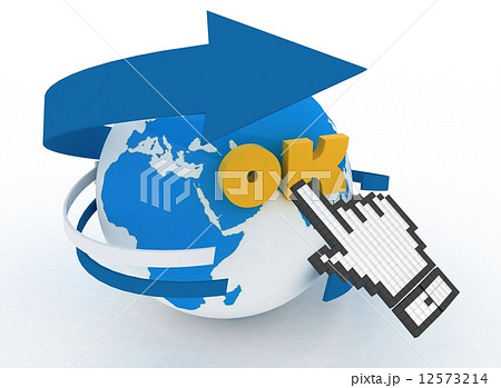 earth globe and hand cursor on a word ok 3d illustration of
