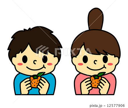 みかんを食べる子供のイラスト素材 12577906 Pixta