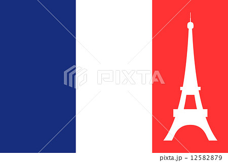 フランス国旗とエッフェル塔のイラスト素材 12582879 Pixta
