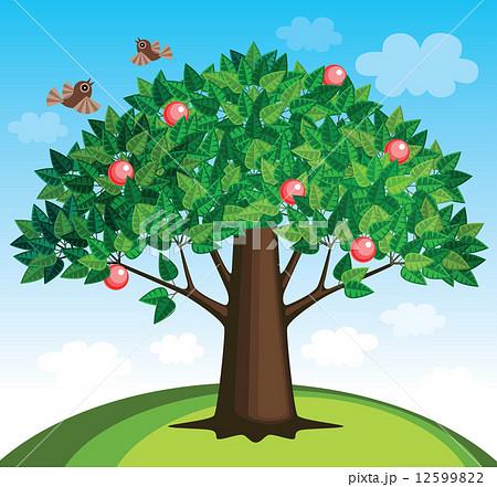 木 イラスト の りんご