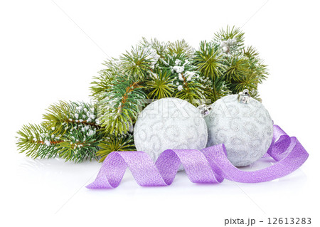 Christmas baubles and purple ribbon with snow fir treeの写真素材 [12613283] - PIXTA