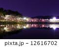 夜桜 高松の池 ライトアップの写真 12616702