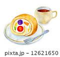 ロールケーキ ケーキ 水彩のイラスト 12621650