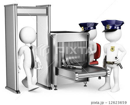 3D white people. Security control airport access. Metal detectorのイラスト素材 [12623659] - PIXTA