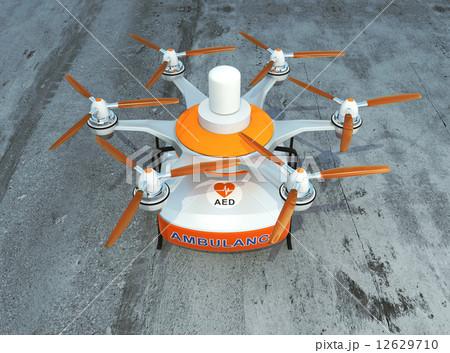 AED装置が装備されている無人航空機ドローン